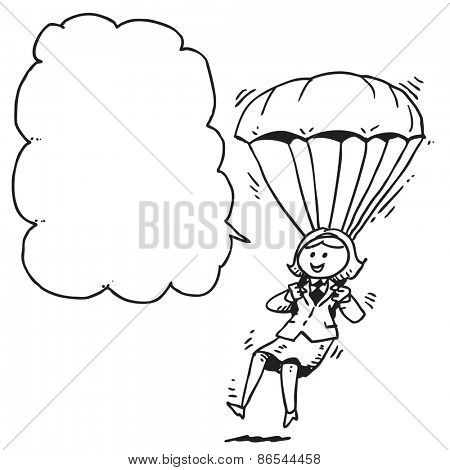Businesswoman parachute speaking