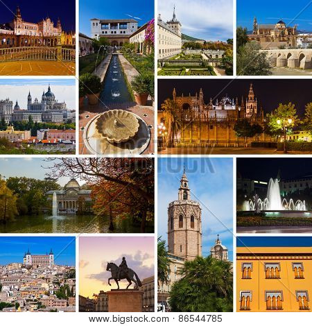 Collage of Spain images - travel and architecture background (my photos)