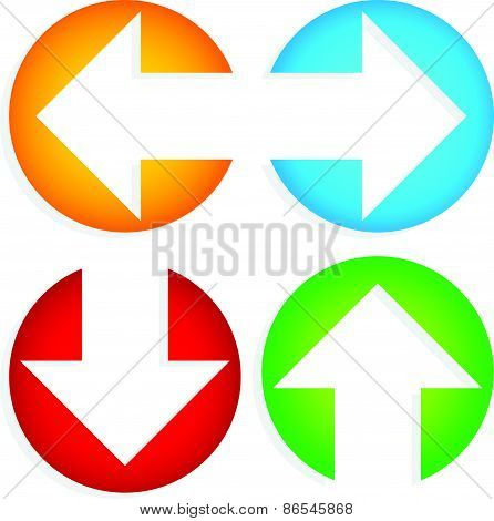 Set Of Colorful Left-right, Up-down Arrows Cut In Circles
