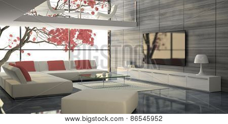Modern interior with white sofas and pink tree 3D