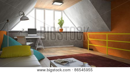 Interior of a modern loft with orange walls 3D