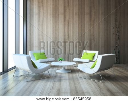 Modern interior with four armchairs and coffee table 3d rendering