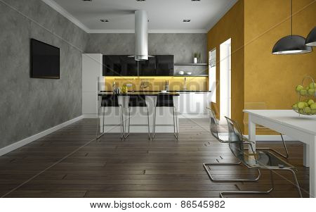 Interior of a modern kitchen and dining room 3d