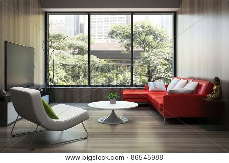 Modern interior with red sofa