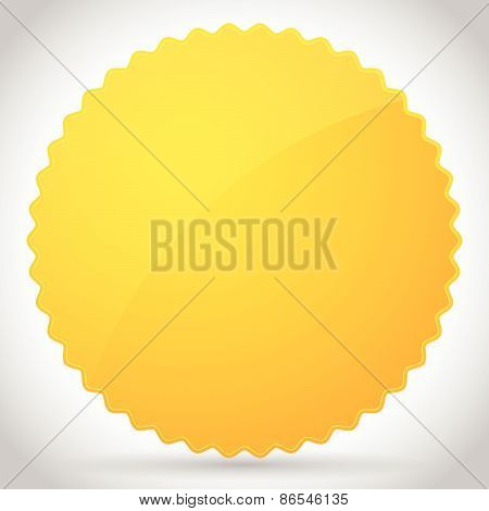Yellow-orange Glossy Badge Shape With Blank Space
