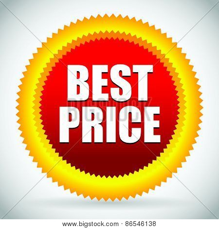 Bright Best Price Badge In Red And Orange