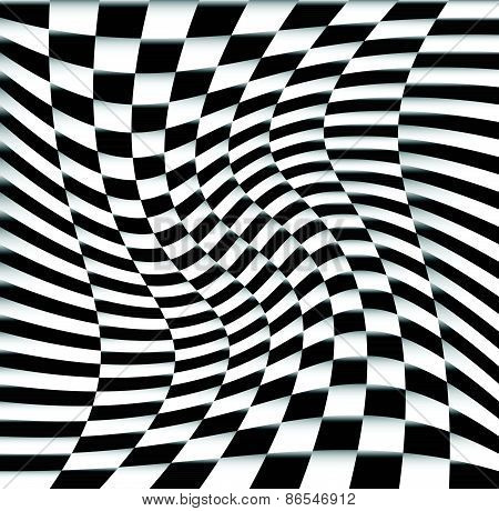Chequered Pattern / Background With Swirling Effect