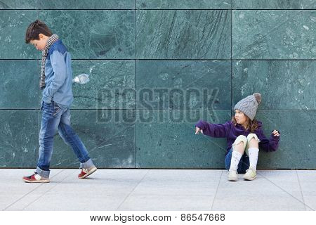 portrait of two kids, casual clothing, outdoors