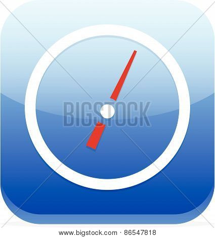 Blue Icon With Dial, Gauge / Meter Symbol
