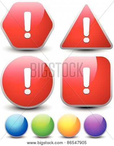 Exclamation Point On Different Shapes - Glossy Exclamation Mark Signs (change The Colors Easily With