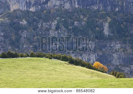 Autumn in the Ordesa National Park, Anisclo Canyon, Pyrenees, Huesca, Aragon, Spain.