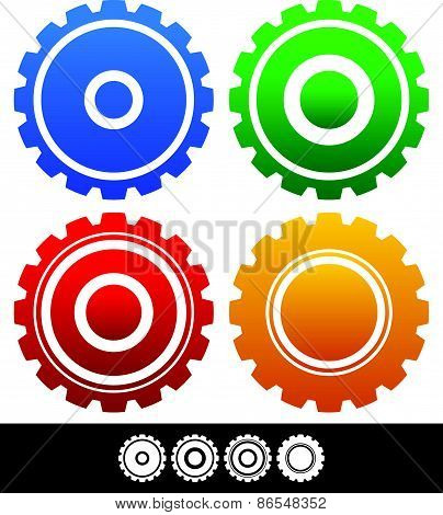 Different, Isolated Shapes Or Silhouettes Of Gears, Cogwheels, Gearwheels Or Cogs In Different Color