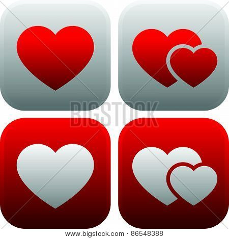 Heart Icon Set. Single Heart, And Pair Of Hearts, Two Hearts Icon.
