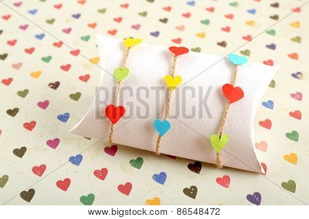 Beautiful gift box on bright background. Valentine Day concept