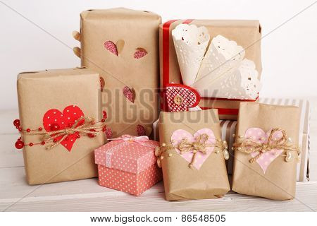 Beautiful gift box close-up. Valentine Day concept