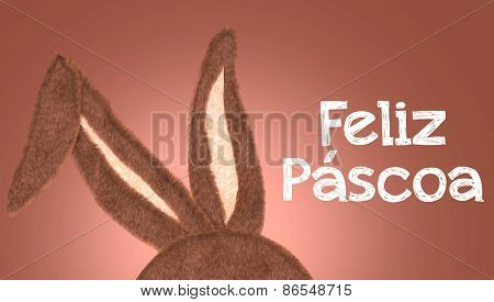 Rabbit Ear with the message Happy Easter (Portuguese: Feliz Pascoa)