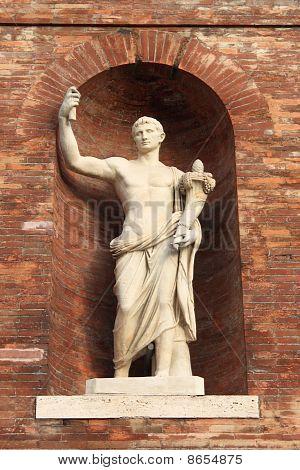 Roman emperor statue with cornucopia