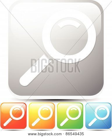 Magnifier Glass Icon In Various Colors