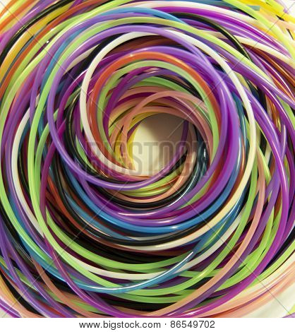 Color Spiral Of Ropes On A White Background
