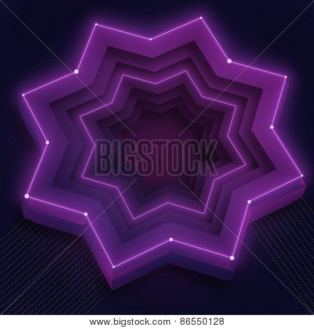 Illustration with 3d shiny purple neon star and place for text