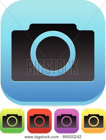 Colorful Photo Camera Icons - W/ Rounded Black Camera Symbol