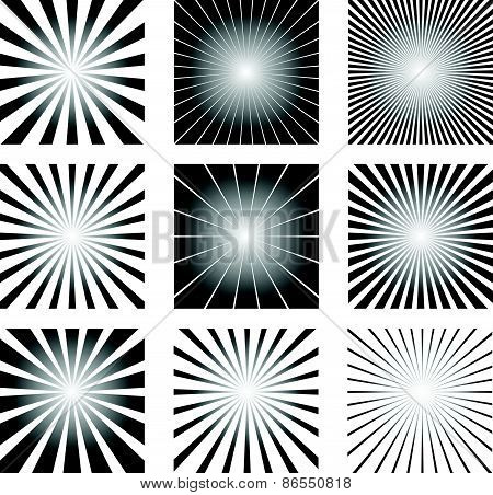 Radial Elements Set. Starburst Or Sunburst Backgrounds, Rays Template