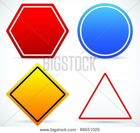Road Sign Shapes. Circle, Square, Triangle, Hexagon Road Signs. Red, Blue, Yellow, And White In Colo