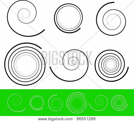 Vector Spiral Set With 6 Different Version With Stroke Profile. Abstract Tendril, Bine, Volute, Heli