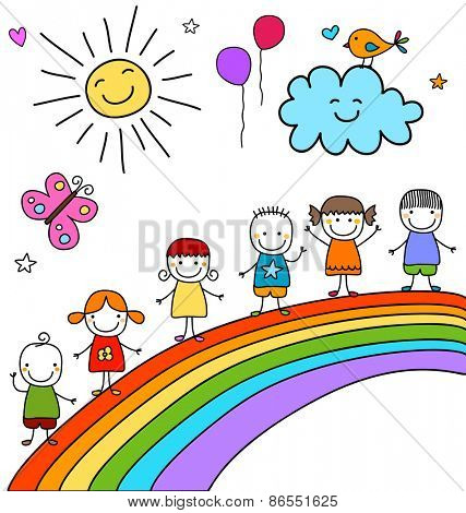 kids on rainbow