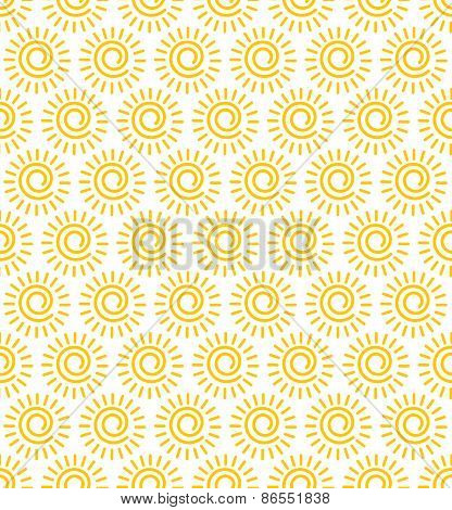 Sun Seamless Vector Pattern. / The Whole Image Is Repeatable, And Smaller Tiles To Fill Smaller Area