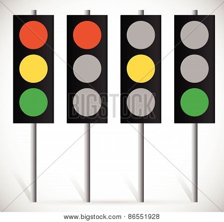 Traffic Lights, Lamps Or Traffic Signals Set. Red, Yellow, Green Light For Stop, Wait, And Go Concep