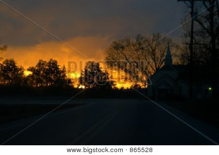 Glowing sunset by corner church