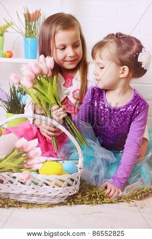Two Girls With Easter Baskets