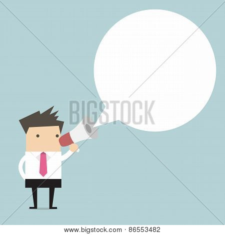 Businessman holding megaphone with speech bubble for text