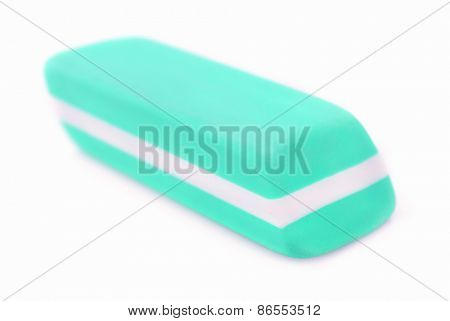 Blue eraser isolated on white