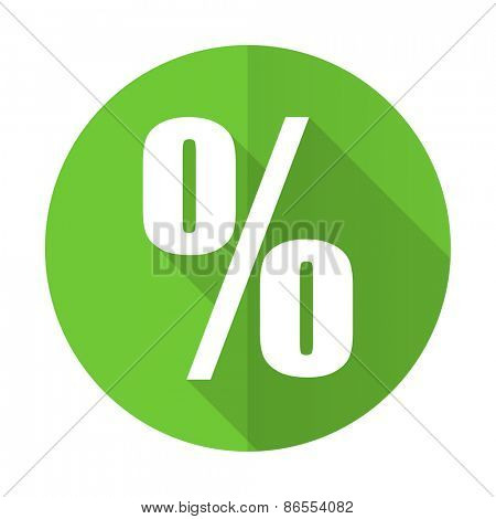 percent green flat icon