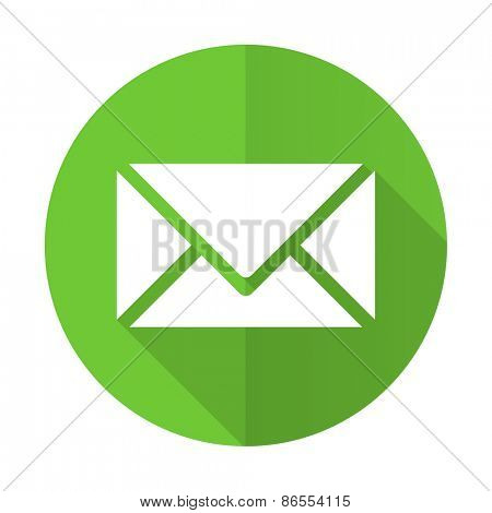 email green flat icon post sign