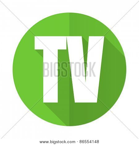 tv green flat icon television sign