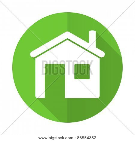 house green flat icon home sign