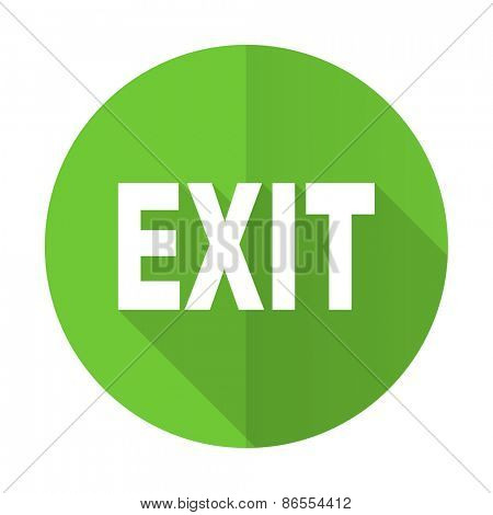 exit green flat icon