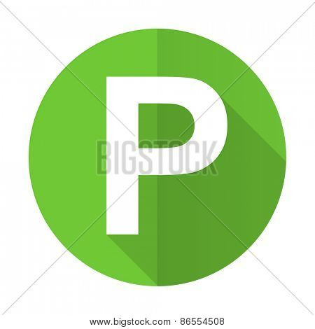 parking green flat icon