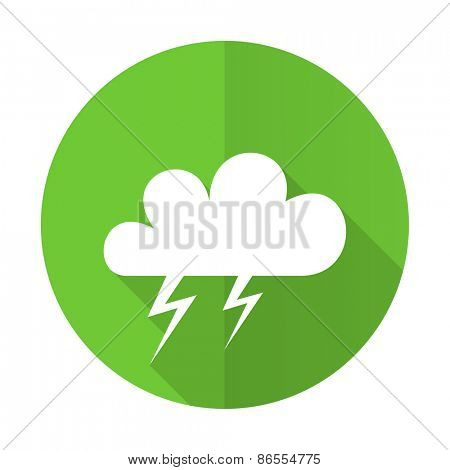 storm green flat icon weather forecast sign