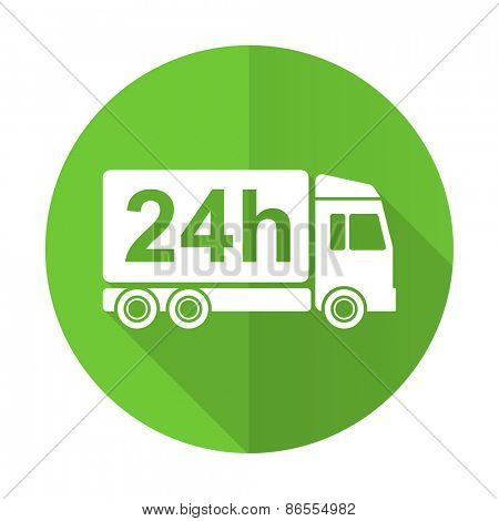 delivery green flat icon 24h shipping sign