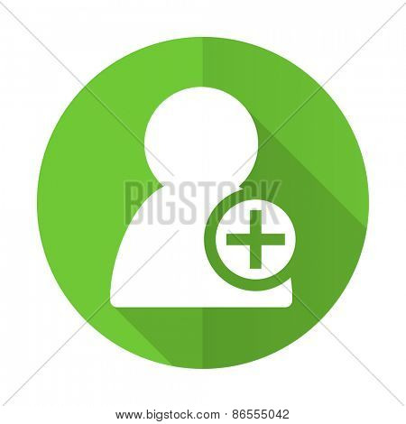 add contact green flat icon