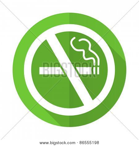 no smoking green flat icon