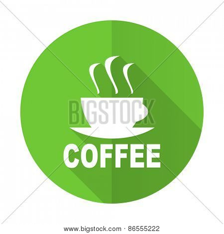 espresso green flat icon hot cup of caffee sign