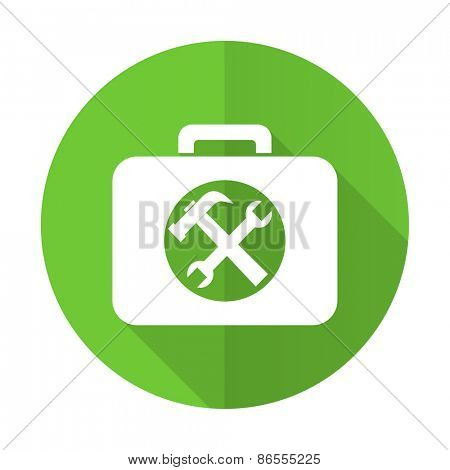 toolkit green flat icon service sign