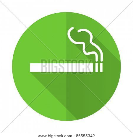 cigarette green flat icon nicotine sign