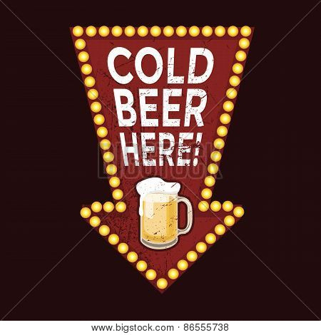Vintage metal sign Cold Beer Here