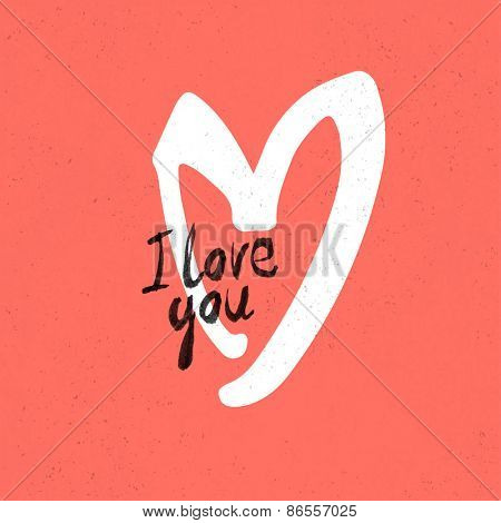 I Love You Lettering. On red paper texture
